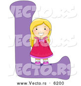 August 25th, 2017: Vector of a Young Girl Beside Alphabet Letter L by BNP Design Studio