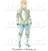 Vector of a Young Knight Wearing Aqua Colored Armor with Gold Trimming by Pushkin