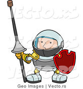 Vector of a Young Knight Wearing Armor While Holding a Lance and Shield by AtStockIllustration