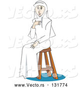 Vector of a Young Nun Girl Sitting on a Stool by Andy Nortnik