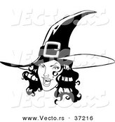 Vector of a Young Pretty Witch - Black and White Line Art by Lawrence Christmas Illustration