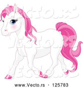 Vector of a Young White and Pink Horse Walking Forward by Pushkin