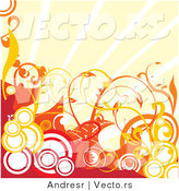 Vector of Abstract Red with Orange Circles and Vines Against Sunshine Rays - Background Design by Andresr