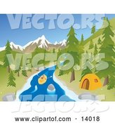 Vector of Active Young Couple Rafting down a River past a Tent at a Camp Site with Mountains in the Background by Rasmussen Images
