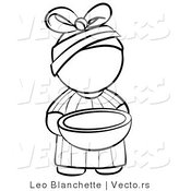 Vector of African Girl Outline Carrying a Bowl - Coloring Page Outlined Art by Leo Blanchette