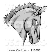 Vector of Aggressive Gray Horse Mascot Head by AtStockIllustration