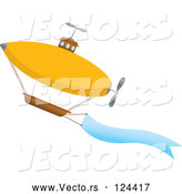 Vector of Airship Ascending with a Message Banner by Mheld