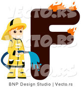 Vector of Alphabet Letter F with a Fireman Boy by BNP Design Studio