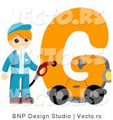 Vector of Alphabet Letter G with a Gas Station Attendant Boy by BNP Design Studio