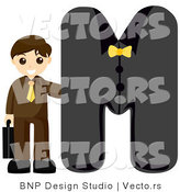 Vector of Alphabet Letter M with a Businessman Boy by BNP Design Studio