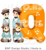 Vector of Alphabet Letter Q with Quartet Boys by BNP Design Studio