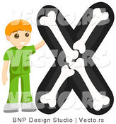 Vector of Alphabet Letter X with an X Ray Texchnician Boy by BNP Design Studio