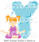 Vector of Alphabet Letter Y with a Yoga Girl by BNP Design Studio