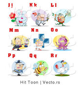 Vector of Alphabet Letters with People and Characters - J Through R by Hit Toon