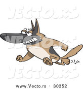 Vector of an Adult German Shepherd - Cartoon Style by Ron Leishman