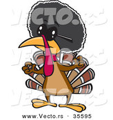 Vector of an African Cartoon Turkey with a Big Afro and Dark Sunglasses by Toonaday