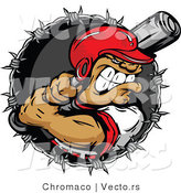 Vector of an Aggressive Batter Preparing to Strike Baseball Within Barbed Wire Icon - Cartoon Design by Chromaco