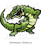 Vector of an Aggressive Cartoon Alligator Raising up During an Attack by Chromaco