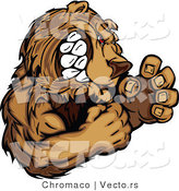 Vector of an Aggressive Cartoon Bear Mascot Gritting Teeth While in Fighting Stance by Chromaco