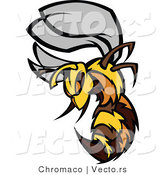 Vector of an Aggressive Cartoon Bee Mascot Charging Forward with Stinger out by Chromaco