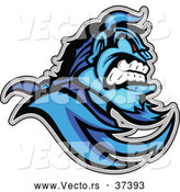 Vector of an Aggressive Cartoon Blue Demon Mascot with ViscousFacial Expression by Chromaco