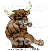 Vector of an Aggressive Cartoon Bull Mascot Punching by AtStockIllustration