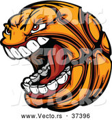 Vector of an Aggressive Cartoon Screaming Basketball Mascot by Chromaco