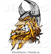 Vector of an Aggressive Cartoon Viking Warrior Mascot Wearing Horns While Gritting His Teeth by Chromaco