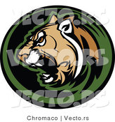 Vector of an Aggressive Cougar Roaring by Chromaco