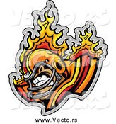 Vector of an Aggressive Flaming Football Player by Chromaco