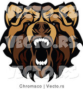 Vector of an Aggressive Growling Grizzly Bear Mascot by Chromaco