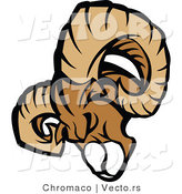 Vector of an Aggressive Ram Mascot Charging Forward by Chromaco