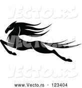 Vector of an Aggressively Leaping Black Horse by Vector Tradition SM