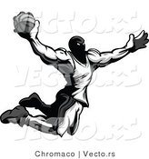 Vector of an Airborne Basketball Player Dunking Basketball - Grayscale by Chromaco