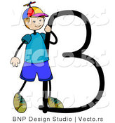 Vector of an Alphabet Letter B with a Stick Figure Boy by BNP Design Studio