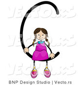 Vector of an Alphabet Letter C with a Stick Figure Girl by BNP Design Studio
