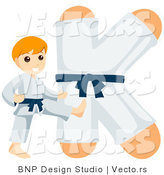Vector of an Alphabet Letter K with a Karate Boy by BNP Design Studio