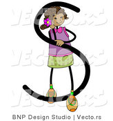 Vector of an Alphabet Letter S with a Stick Figure Girl by BNP Design Studio