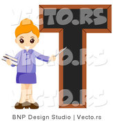 Vector of an Alphabet Letter T with a Female Teacher by BNP Design Studio