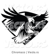 Vector of an American Bald Eagle Flying over a Badge - Black and White Version by Chromaco