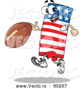 Vector of an American Cartoon Flag Mascot Running with Football by Holger Bogen