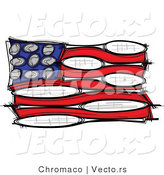 Vector of an American Flag Made of Tennis Balls and Rackets by Chromaco