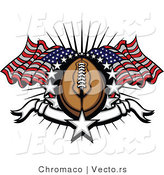 Vector of an American Football Surrounded by Stars and Flags by Chromaco