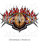 Vector of an American Football with Tribal Designs and Flames by Chromaco