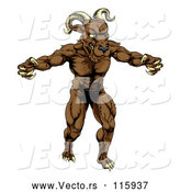 Vector of an Angry Cartoon Ram Mascot with Claws Bared by AtStockIllustration