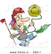 Vector of an Angry Cartoon Woman Strangling a Giant Dandelion Weed by Toonaday
