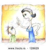 Vector of an Angry Mom Lecturing Kid by C Charley-Franzwa