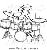 Vector of an Awesome Cartoon Drummer Dude with His Instruments - Coloring Page Outline by Toonaday