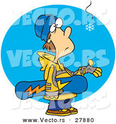 Vector of an Eager Cartoon Snowboarder Waiting for Snowfall by Toonaday