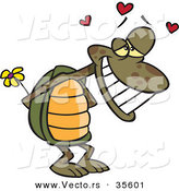Vector of an Enamored Cartoon Turtle Smiling While Hiding a Yellow Flower Behind His Shell with Love Hearts Floating Above His Head by Ron Leishman